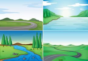 Vier natuurtaferelen met rivieren en wegen