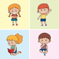 Four happy kids on different backgrounds vector