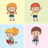 Quatro crianças felizes em diferentes origens