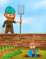 Granjero enojado con el conejo en la granja