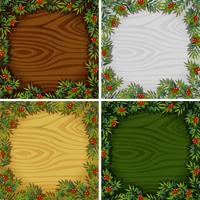 Four border templates with wooden texture background