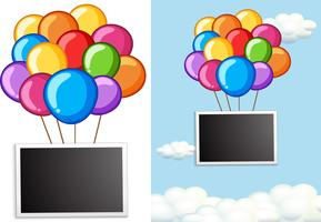 Border template with colorful balloons in sky