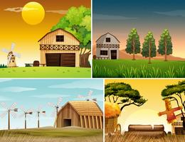 Four background scenes of farmyards
