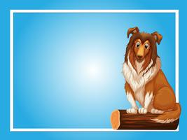 Blue background template with cute dog on log