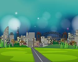 Una gran ciudad en la escena nocturna