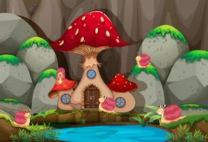 Forest scene with mushroom house by the pond
