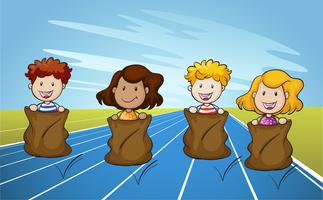 Jumping Sack Racing on Running Track