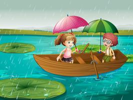 Scene with boy and girl rowing boat in the rain