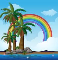 Una isla paradisíaca y un arco iris