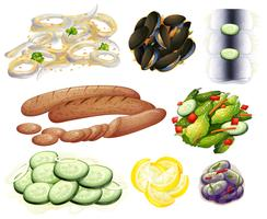 Food and Vegetable on White Background