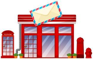 Tienda de correos sobre fondo blanco.