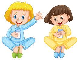 Two girls drinking milk