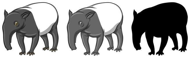 Conjunto de caracteres de tapir.