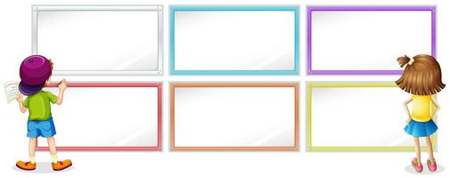 Frame template with girl and boy writing
