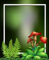 Cadre vert de plantes et de champignons