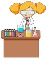 Girl experiment in the laboratory