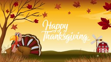 A turkey on fall background vector