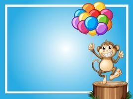 Gränsmall med lycklig apa och färgglada ballonger