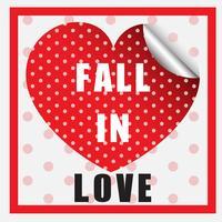 Modèle de carte Vélentine avec coeur polkadot