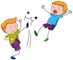 Bully boy kicking his friend