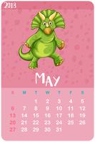 Calendar template for May with triceratops