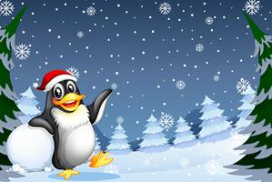 Christmas penguin in winter background