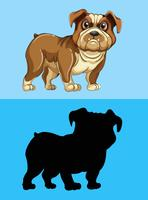 Bulldog and its silhouette vector