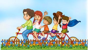 Família, montando, reboque, bicicleta