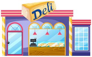 Exterior of deli shop vector