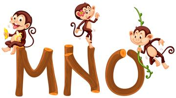 Monkey and wooden alphabet