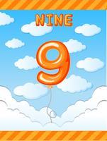 Balão de número nove no céu