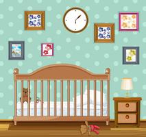 Bedroom scene with babycrib and bears