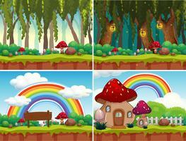 Um conjunto de paisagem de cogumelo