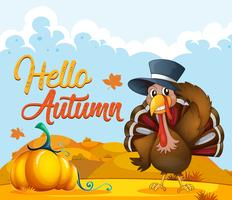 Turkey on autumn template vector