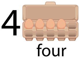 Vier eieren in karton