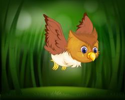 Babyuil die door een bos vliegt