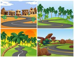 Cuatro escenas con caminos vacíos.