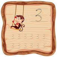 Número três traçando planilhas de alfabeto