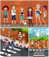 Neighborhood scenes with teenagers