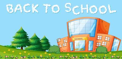 Ritorno a scuola e edificio scolastico