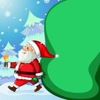 Santa claus and big present bag