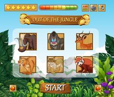 Plantilla de juego de animales salvajes de la selva.