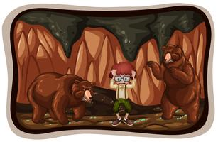 Ursos assustadores na caverna