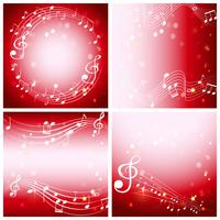 Four red background with music notes