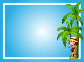 A Tropical Summer with Girl Blue Template vector