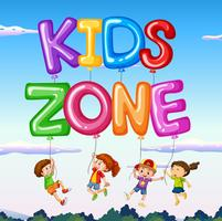 Kids zone with kids and balloon with sky background