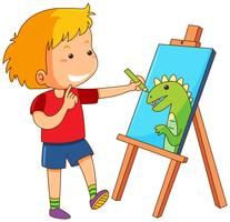 Boy drawing dragon on canvas