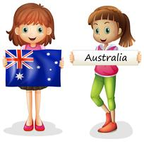 Two girls and flag of Australia