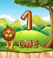 One lion in nature background