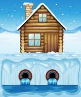 Una capanna all'Artide e al tubo dell'acqua